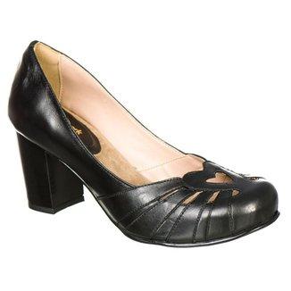 Sapato Boneca Retro Malbork em Couro Salto 7cm