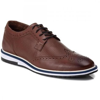 Sapato Brogue Casual Masculino Couro Premium Confort