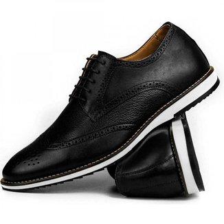Sapato Brogue Casual Oxford Masculino Couro Premium Confort