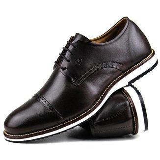 Sapato Casual Brogue Premium Comfort Social Cafe Couro