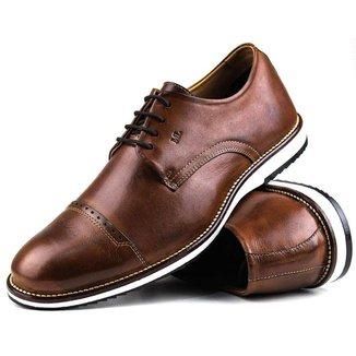 Sapato Casual Brogue Premium Comfort Social Castor Couro