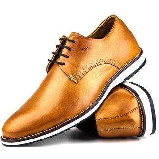 Sapato Casual Brogue Premium Comfort Social Wisky Couro