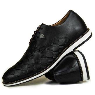 Sapato Casual Brogue Xadrez Premium Couro Confort Social Mr Light