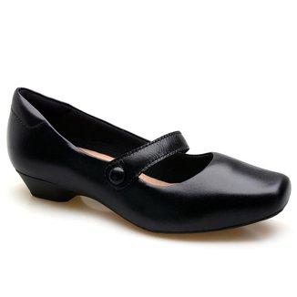 Sapato Casual Couro Feminino Salto Baixo Conforto Dia a Dia