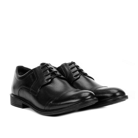 Sapato Casual Couro Ferracini Bolonha Recorte Bico Masculino - Preto