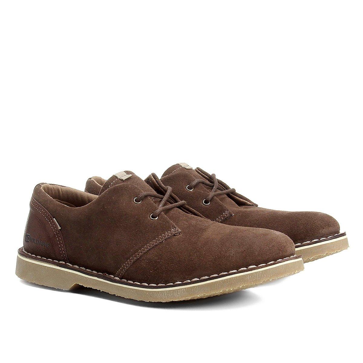 Sapato Casual Couro Kildare Sahara Camurça - Café