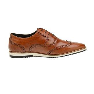 Sapato Casual Couro Marrom Oxford 24512