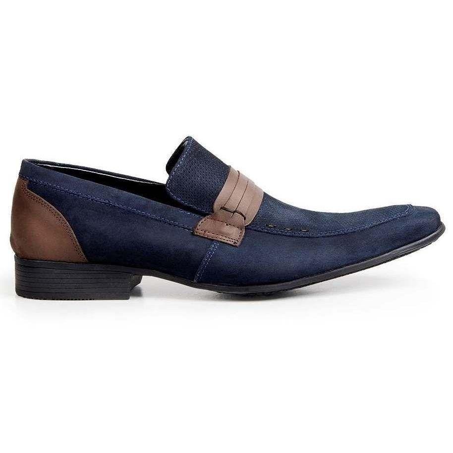 Azul Casual Sapato Sapato Couro Azul Bigioni Bigioni Casual Couro Nobuck Nobuck qTwftxa4