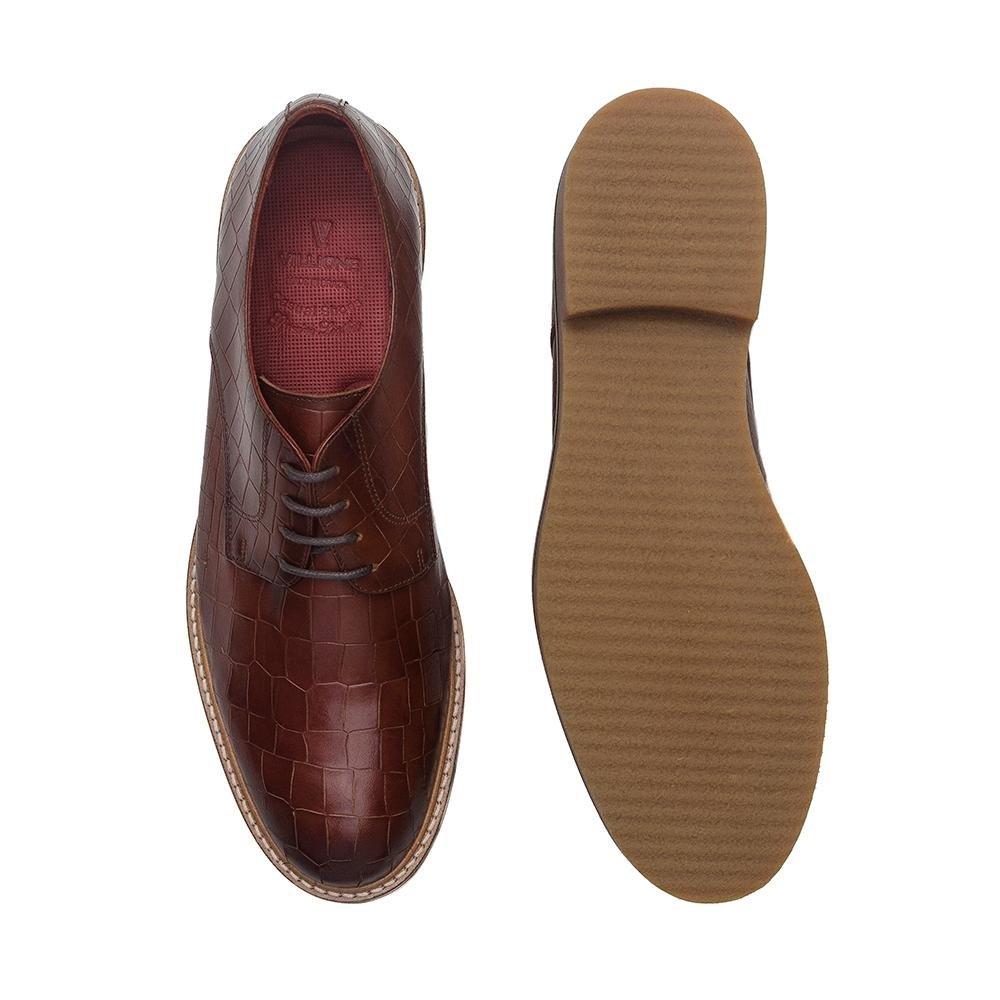 Masculino Villione Franklin Marrom Sapato Casual Couro Sapato Derby Casual 0w7OqCx