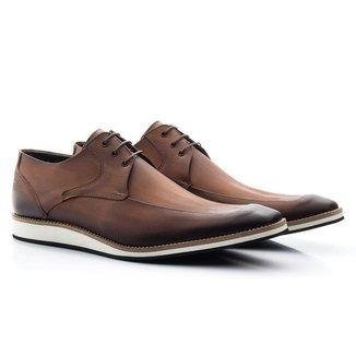 Sapato Casual Derby Couro Estonado Masculino