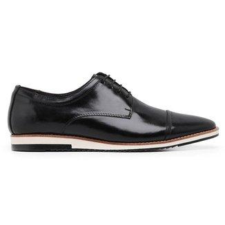 Sapato Casual Derby Couro Preto 24515