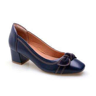 Sapato Casual Feminino Couro Salto Bloco Lacinho Conforto