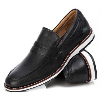Sapato Casual Loafer Masculino Couro Palmilha Espumada