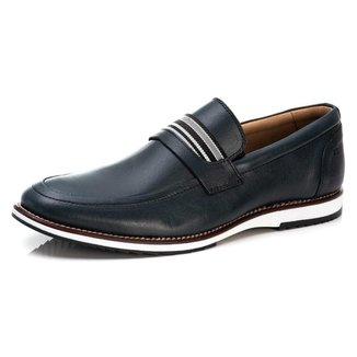 Sapato Casual Loafer Masculino em Couro Liso Conforto