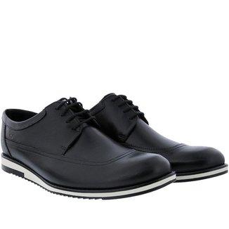 Sapato Casual Mac & Jac Derby Couro Preto