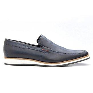Sapato Casual Marinho Couro Estonado 525az