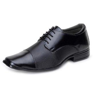 Sapato Casual Masculino Bico Quadrado com Fechamento Cadarço