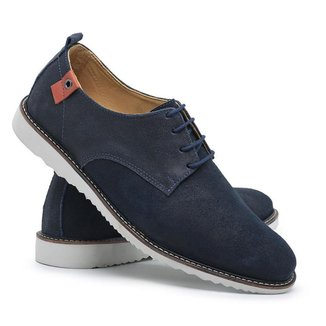 Sapato Casual Masculino Cadarço Couro Dia a Dia Macio Leve