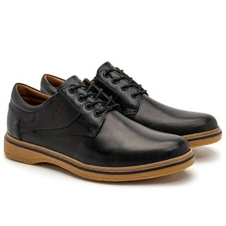 Sapato Casual Masculino Couro Perfuros Conforto Dia a Dia