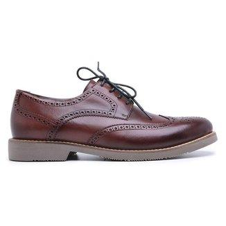 Sapato Casual Oxford Em Couro Centuria Vinho