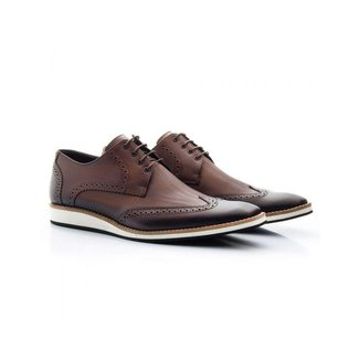 Sapato Casual Oxford Masculino Francawear Couro Café 516
