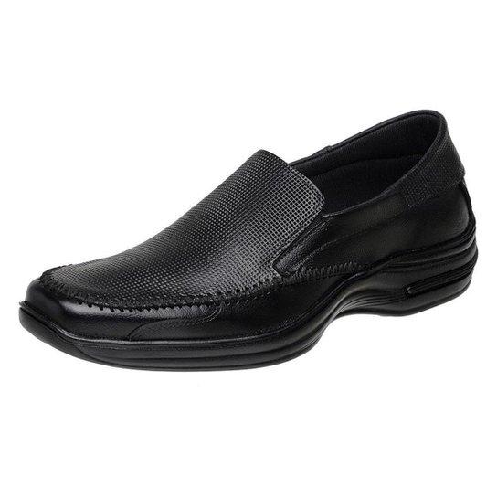 Sapato  Casual Roma Shoes Social  em Couro  Antiderrapante Masculino - Preto