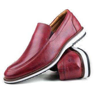 Sapato Casual Slip Brogue Premium Couro Confort Social Mr Light