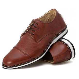Sapato Casual Social Masculino Em Couro Havana