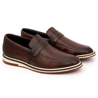 Sapato Casual Social Masculino Em Couro Tabaco