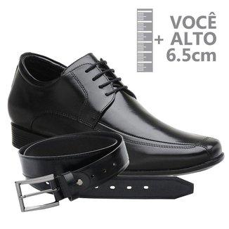 Sapato Com Altura Jota Pe Preto Grow Air + Cinto 71353