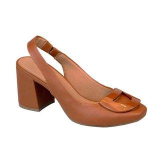 Sapato Com Fivela Comfort Terracota