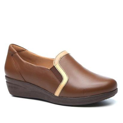 Sapato Conforto Couro Anabela Doctor Shoes 190 Feminino