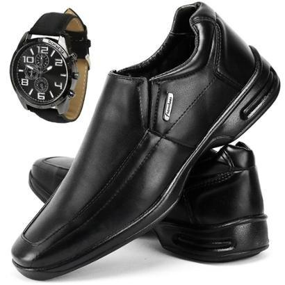 Sapato Conforto Social SapatoFran com Relógio Masculino