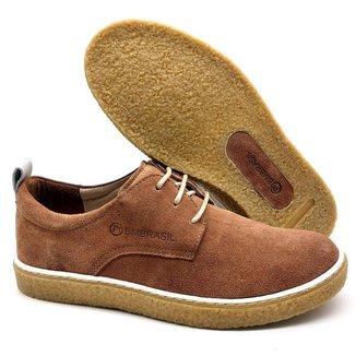 Sapato De Couro Camurça Sola Crepe Cano e Gáspea 890/01