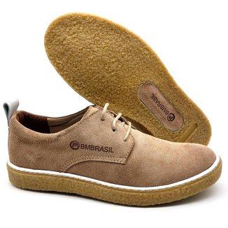 Sapato De Couro Camurça Sola Crepe Cano e Gáspea 890/02