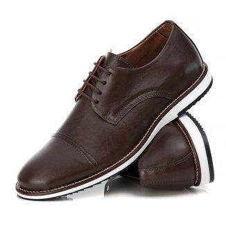 Sapato Derby Couro Tchwm Shoes Masculino Conforto Dia Dia