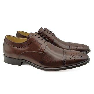 Sapato Derby Masculino Couro Brogue Bico Redondo Confortável