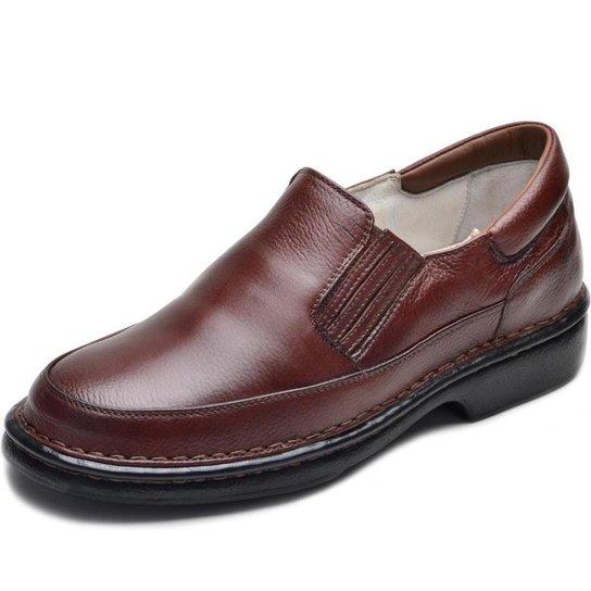 Sapato em Couro Terapia Confort Masculino Dia Dia Descanso - Cafe