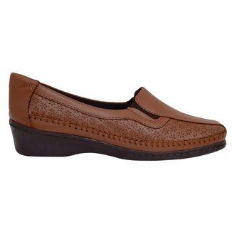 Sapato Fechado Confort Couro Cabra Caramelo 38