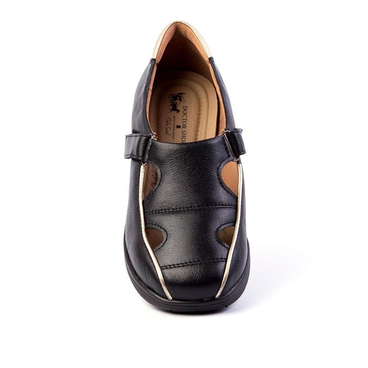 c503f8a2f5 Sapato Feminino Anabela 185 em Couro Doctor Shoes - Preto - Compre ...