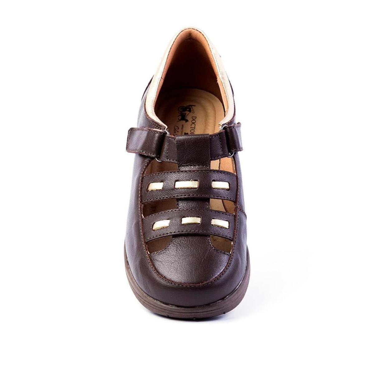 Sapato Couro Sapato Doctor Shoes em Feminino Café 188 Feminino Anabela UqdTxq1