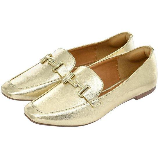Sapato Feminino Mocassim Donatella Shoes Bico Quadrado Confort - Ouro