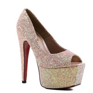 Sapato Feminino Peep Toe Zariff Com Brilho