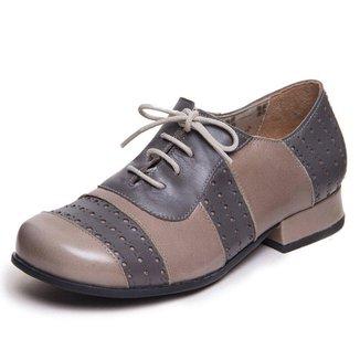 Sapato Feminino Retro Mary Jane - Pistache / Cinza 7740