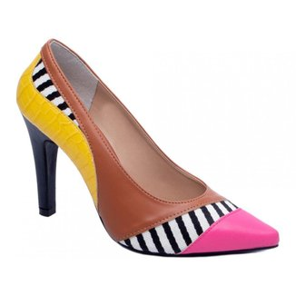 Sapato Feminino Scarpin Preto Branco Amarelo Salto Alto