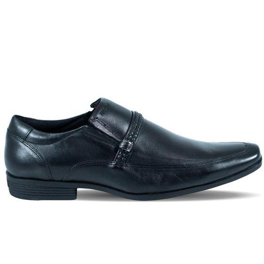 Sapato Ferracini Masculino Liverpool de Couro Preto e Fivela - Preto