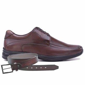 Sapato Jota Pe 3d Marrom Air + Cinto De Couro 71454