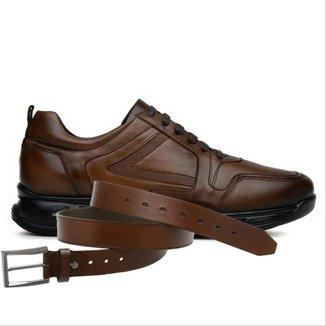 Sapato Jota Pe Marrom 3d Air Evolution + Cinto De Couro 78004