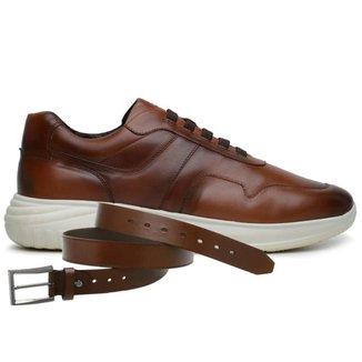 Sapato Jota Pe Marrom 3d Air Evoque Xs + Cinto 80150
