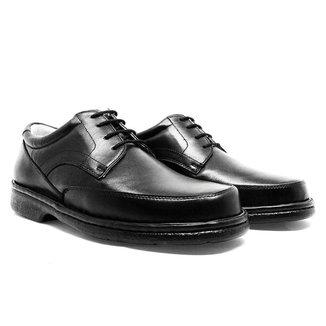 Sapato Linha Conforto De Amarrar Em Couro Preto